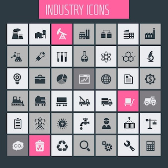Grote industrie icon set, trendy iconen collectie
