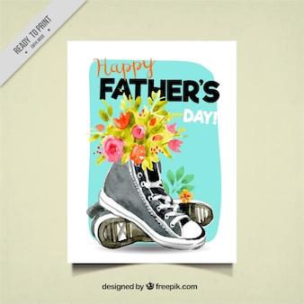 Grote kaart van de vaderdag met bloemen en schoenen