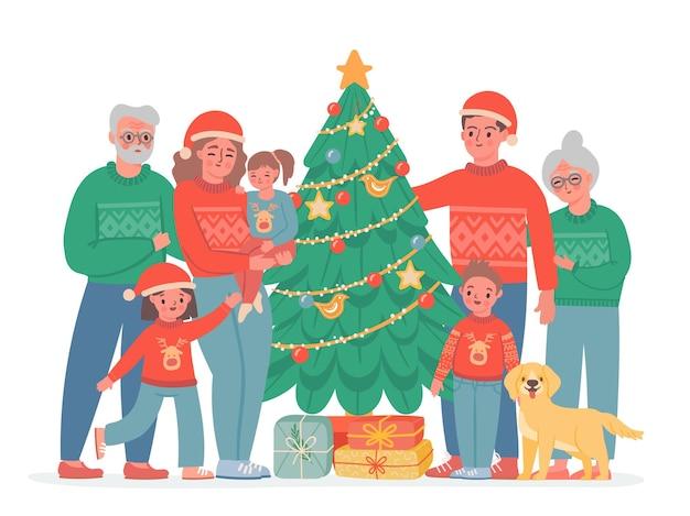 Grote kerst familie. oma, opa, mama en papa, kinderen en hond in truien en kerstmuts. vector familieportret met versierde dennenboom... gelukkige familie, kleinkinderen en grootouders