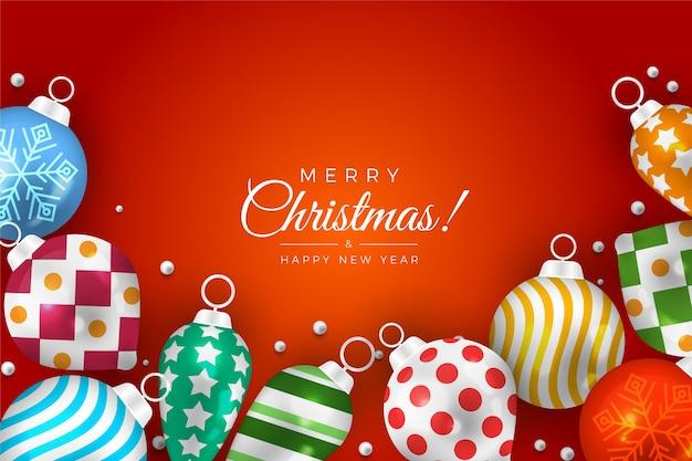 Grote kerstballen voor boom en achtergrond met kleurovergang