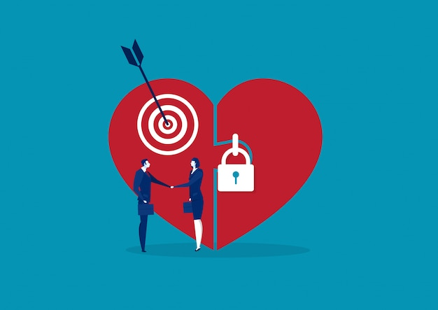 Grote liefde met hart op slot en mensen schudden met de hand