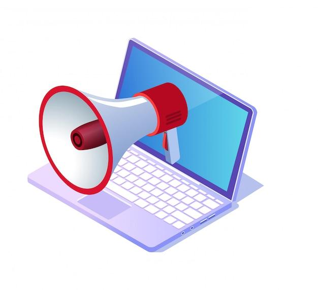 Grote luidspreker op blauwe laptop scherm cartoon.