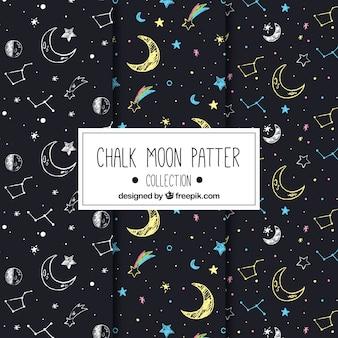 Grote maan patronen met tekeningen