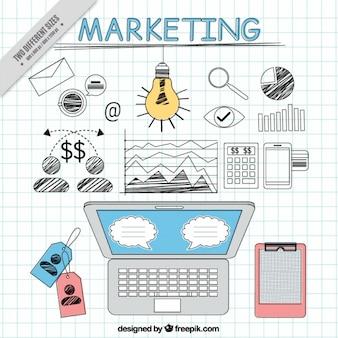 Grote marketing achtergrond met onderzoek elementen