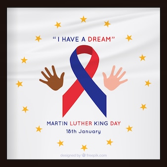 Grote martin luther king dag achtergrond met rood en blauw lint