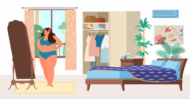 Grote maten vrouw probeert een badpak in een slaapkamer. vlakke afbeelding.