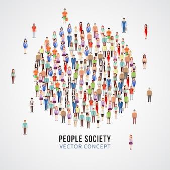 Grote mensen verdringen zich in cirkelvorm. maatschappij, mensen gemeenschap vector concept