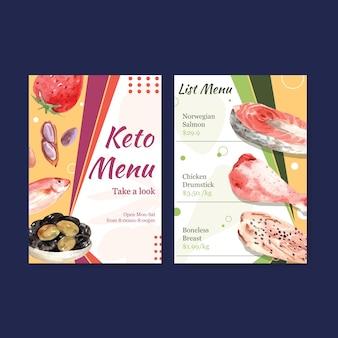Grote menusjabloon met ketogeen dieet concept voor restaurant en levensmiddelenwinkel aquarel illustratie.