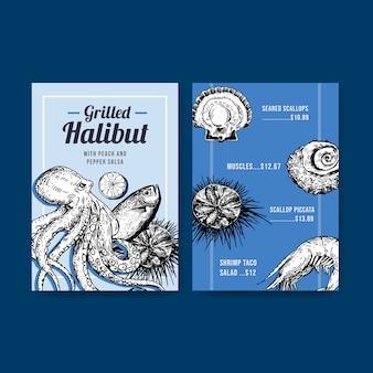 Grote menusjabloon met zeevruchten conceptontwerp voor restaurant en voedingswinkel illustratie