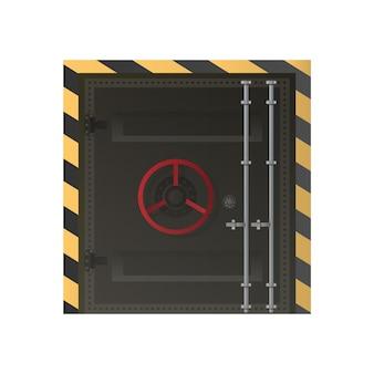Grote metalen deuren vanuit de bunker. gepantserde deur voor banken of schuilplaatsen. geïsoleerd.