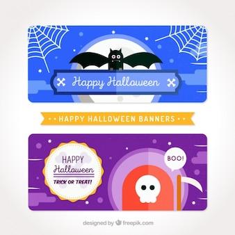 Grote minimalistische banners klaar voor halloween