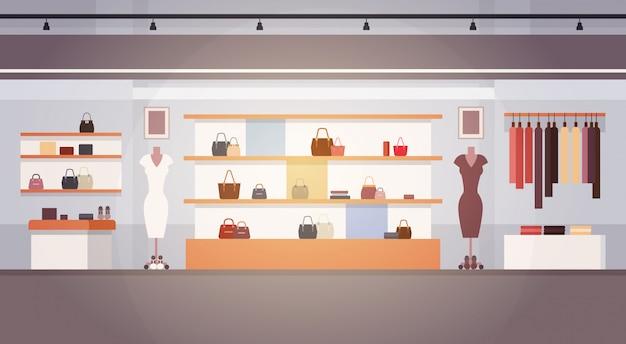 Grote mode winkel super markt vrouwelijke kleding winkelcentrum binnenlandse banner met kopie ruimte