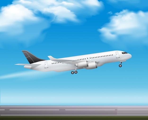 Grote moderne passagiersvliegtuigstraal
