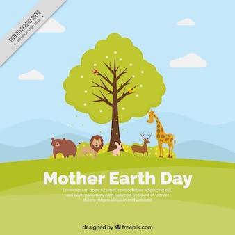 Grote moeder aarde dag achtergrond met boom en dieren