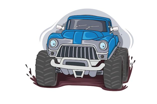 Grote monstertruck, enorm zwaar voertuig, offroad. geïsoleerd op witte achtergrond