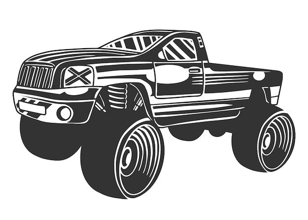 Grote monstertruck, enorm zwaar voertuig, offroad. geïsoleerd op witte achtergrond.