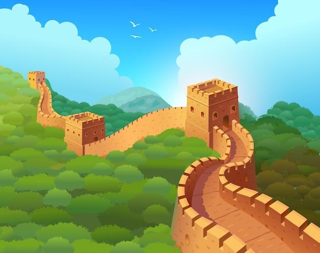 Grote muur van china in een prachtig natuurlijk landschap