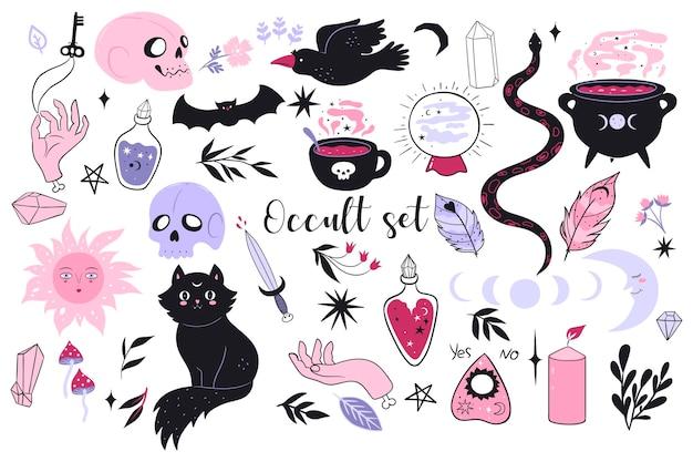 Grote occulte set magische items geïsoleerd