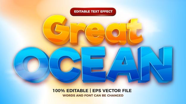 Grote oceaan cartoon komische bewerkbare teksteffect stijlsjabloon