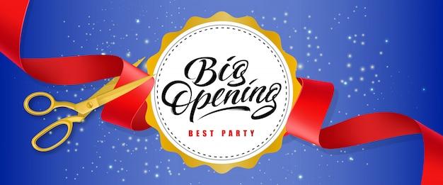 Grote opening, beste feest blauwe spetterende banner met tekst op witte cirkel en gouden schaar