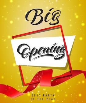 Grote opening, beste feest van het jaar feestelijke poster met frame en rood zwaaide lint