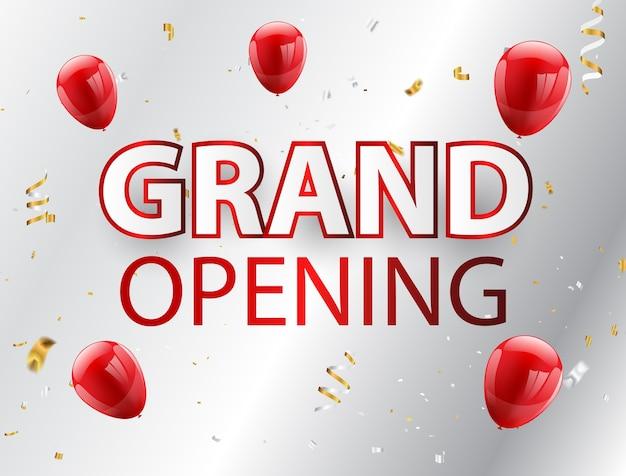 Grote opening evenement ontwerp gouden confetti rode ballonnen