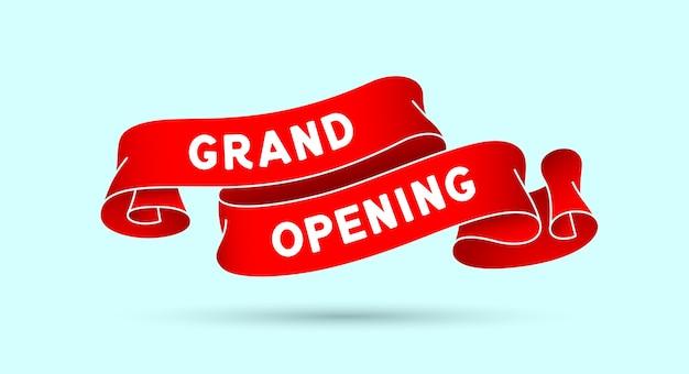 Grote opening. rood vintage lint met tekst grand opening.