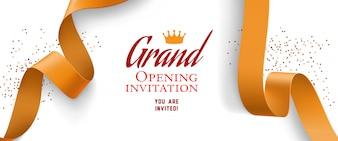 Grote opening uitnodiging met confetti, gouden linten