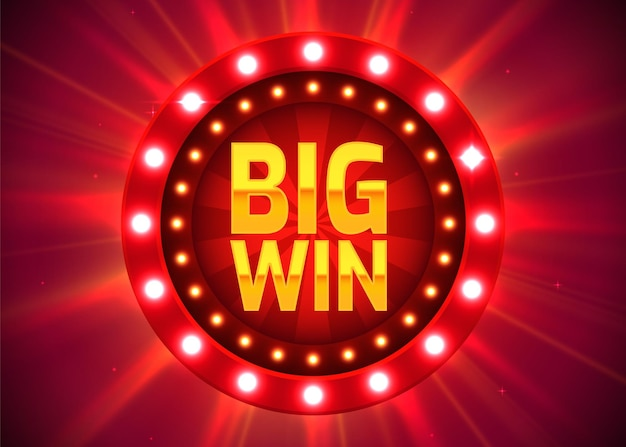 Grote overwinning bord met tekst: grote overwinning. jackpot concept