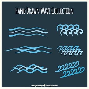Grote pak van de hand getekende golven in blauwe tinten