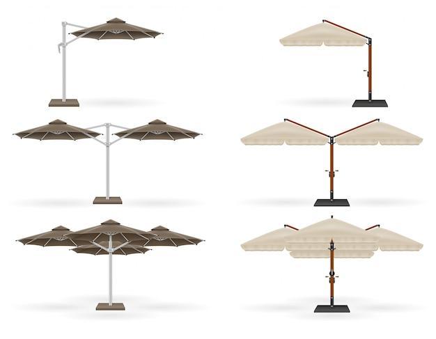 Grote parasol voor bars en cafés op het terras of op het strand.
