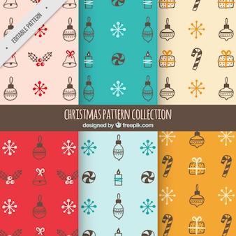 Grote patronen met de hand getekende christmas objects