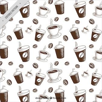 Grote patroon met koffiebonen en mokken