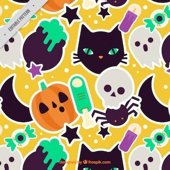 Grote patroon met verschillende elementen van halloween