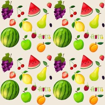 Grote patroon van realistische stukken fruit