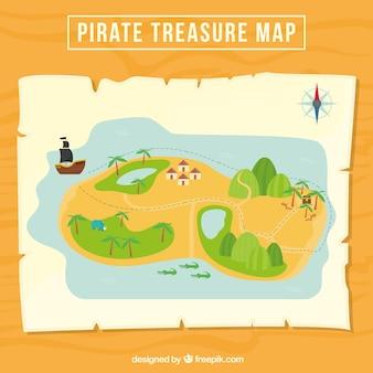 Grote piraat schatkaart