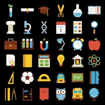 Grote platte terug naar school objecten ingesteld op zwarte achtergrond. platte gestileerde vectorillustraties. terug naar school. wetenschap en onderwijs set. verzameling van kleurrijke objecten op zwarte achtergrond.