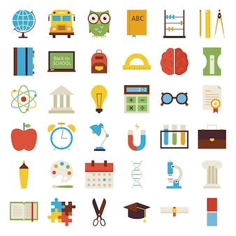 Grote platte terug naar school objecten instellen. platte gestileerde vectorillustraties. terug naar school. wetenschap en onderwijs set. verzameling van objecten geïsoleerd over wit.