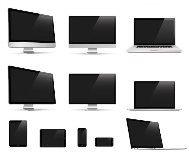 Grote realistische set van monitor, laptop, tablet, smartphone apparaatcollectie