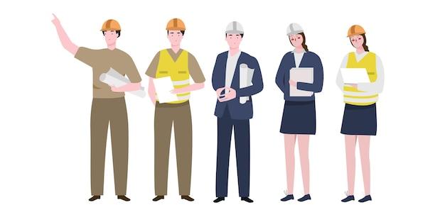 Grote reeks aannemerskarakter met verschillende activiteiten