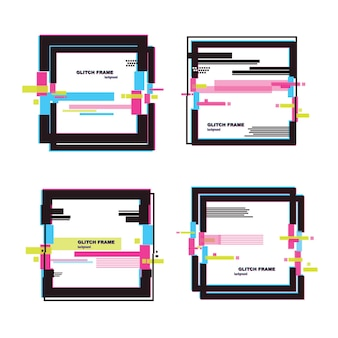 Grote reeks abstracte banners in digitale glitch-stijl. vector korting, promotie trendy achtergrond
