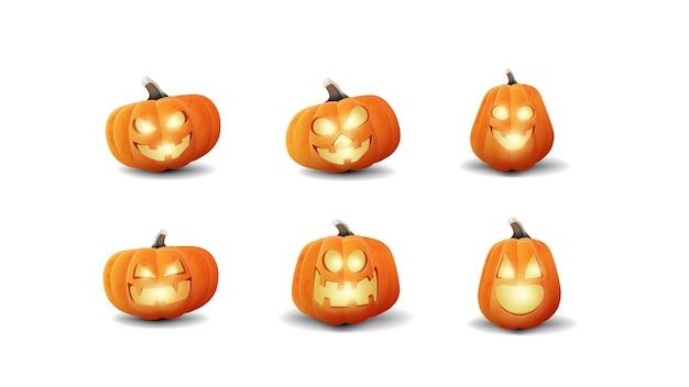 Grote reeks cartoon volumetrische halloween-pompoenen. inzameling van 3d pictogrammen van pompoenenhefbomen die op witte achtergrond worden geïsoleerd
