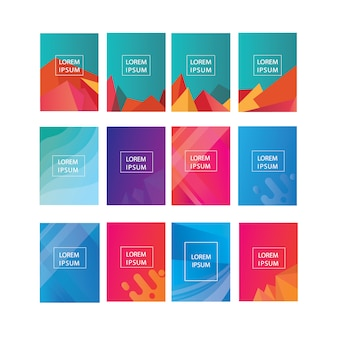 Grote reeks dekking, flyer, brochure, poster sjabloonontwerp met abstracte geometrische vorm achtergrond