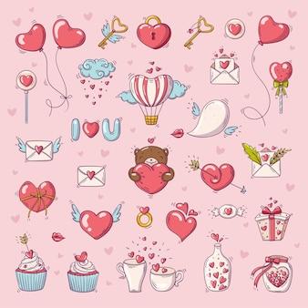 Grote reeks elementen voor st. valentijnsdag in doodle stijl.