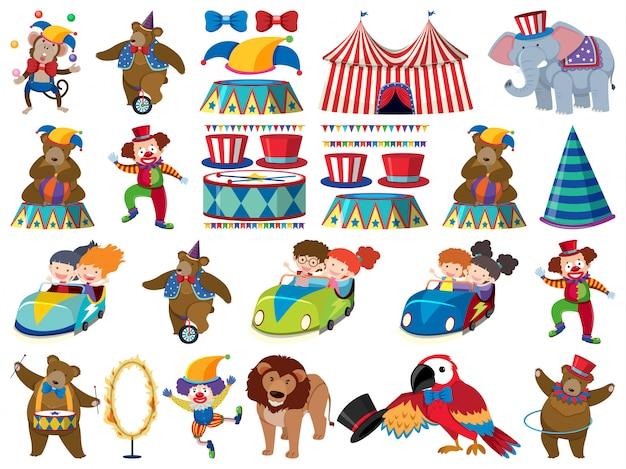 Grote reeks geïsoleerde objecten van kinderen en circus