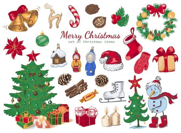 Grote reeks gekleurde kerstdecoraties in schetsstijl.