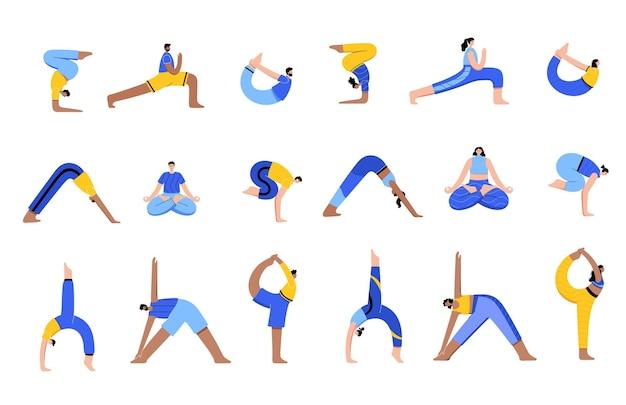 Grote reeks gelukkige mannen en vrouwen voert yoga-oefeningen thuis of op het werk uit.