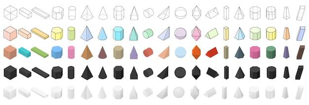 Grote reeks geometrische vormen. isometrische 3d-weergave. platte, lineaire en realistische gekleurde vormen. objecten voor school, meetkunde en wiskunde. vector illustratie.