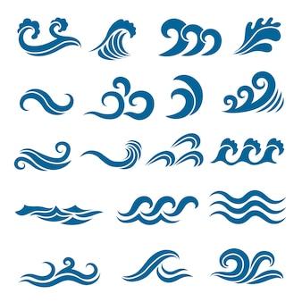 Grote reeks gestileerde oceaangolven. gekleurde set. zeewatergolf, oceaan stroomt en wervelingsillustratie