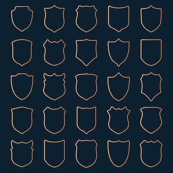 Grote reeks gouden contourschilden op blauw